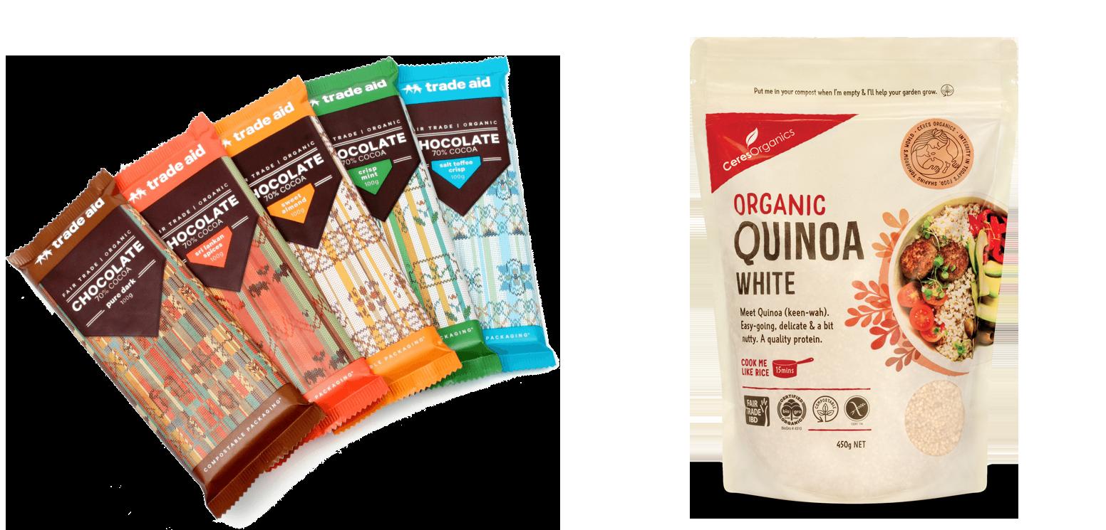 Custom Printed Trade Aid Chocolate and Ceres Organics Quinoa pack